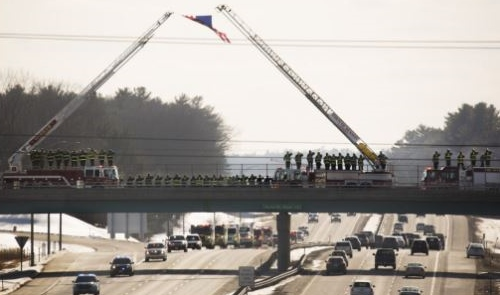 Somber procession carries fallen firefighter's body home to Old Orchard Beach
