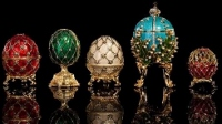 Photo display of Faberge Eggs set for RPL on March 28