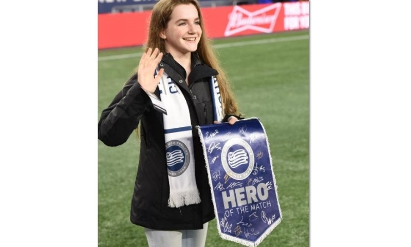 Rochester teen honored for volunteer work during soccer match at Foxborough