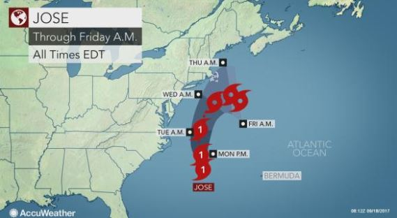 Stay away, Jose! Weakened storm expected to track NE