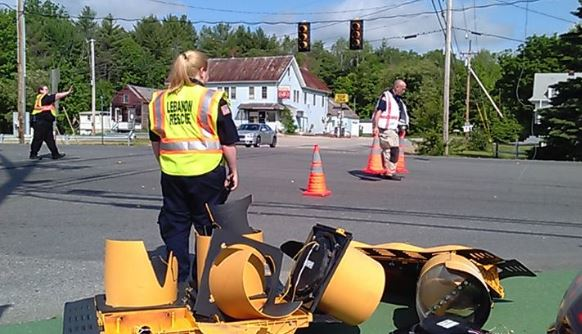 Trailer, excavator take down Route 202 traffic lights