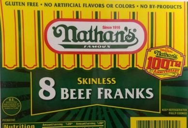 100 tons of  Nathan's dogs recalled due to metal contaminants