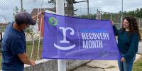 City salutes Recovery Month with sign at Community Center