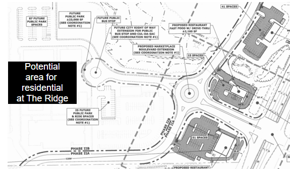Three restaurants proposed as part of The Ridge's Phase IIA plan