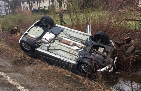 Woman escapes serious injury in Salmon Falls Rd. rollover