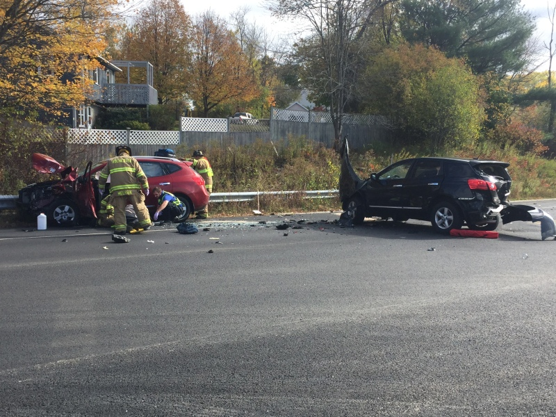 Three injured, traffic detoured, in Gonic Road crash