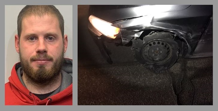 Police: Milton man nabbed for DWI, drugs after fleeing Gonic hit-n-run on flat tire