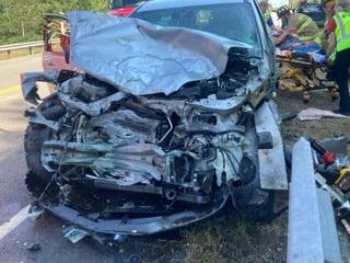 Three motorists seriously injured in three-vehicle crash that snarls weekend traffic