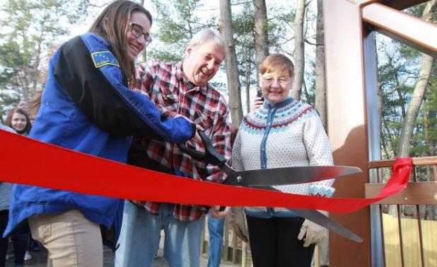 Ribbon cutting celebrates reopening of Dewey Street pedestrian bridge