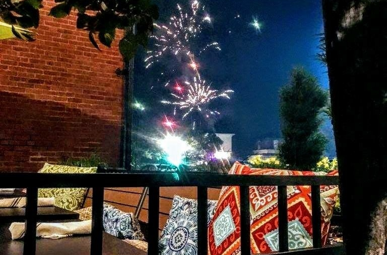 Fireworks al fresco: Downtown businesses got a spectacular show on Tuesday