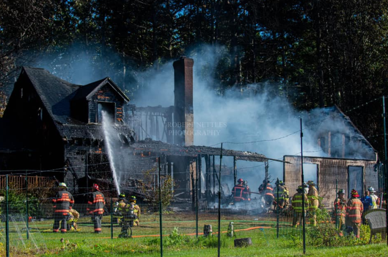 No one injured in blaze that levels home, but family dog missing