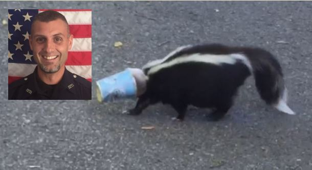 Beyond the call, er smell, of duty: Officer, Good Samaritans save skunk caught in a shake chapeau