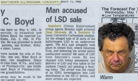 Smoronk was convicted of LSD trafficking while student at Southern Illinois