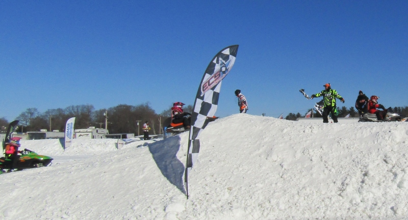 A hardy bunch turns up to watch the snow machines race at Fairgrounds event