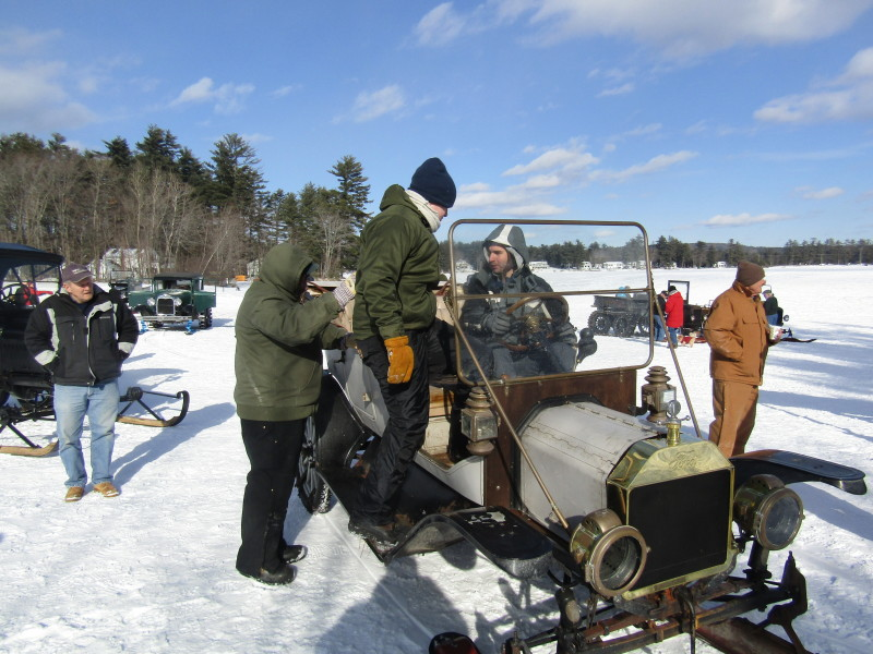 The winter hobby that suits them to a 'T': Model T snowmobiling