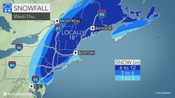 Another nor'easter bears down, this one with less wind, more snow
