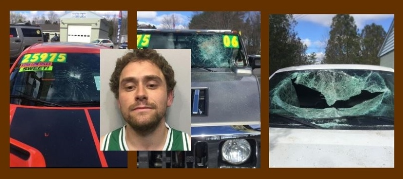 Transient charged with major vandalism at Milton road auto dealerships